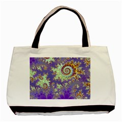 Sea Shell Spiral, Abstract Violet Cyan Stars Twin Sided Black Tote Bag