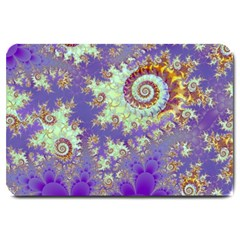 Sea Shell Spiral, Abstract Violet Cyan Stars Large Door Mat