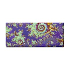 Sea Shell Spiral, Abstract Violet Cyan Stars Hand Towel