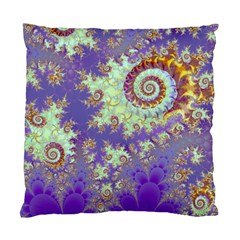 Sea Shell Spiral, Abstract Violet Cyan Stars Cushion Case (Single Sided)
