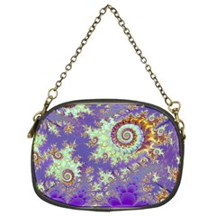 Sea Shell Spiral, Abstract Violet Cyan Stars Chain Purse (two Sided)