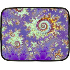 Sea Shell Spiral, Abstract Violet Cyan Stars Mini Fleece Blanket (Two Sided)