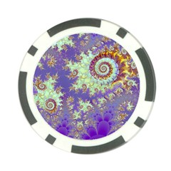 Sea Shell Spiral, Abstract Violet Cyan Stars Poker Chip (10 Pack)