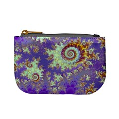 Sea Shell Spiral, Abstract Violet Cyan Stars Coin Change Purse