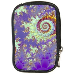 Sea Shell Spiral, Abstract Violet Cyan Stars Compact Camera Leather Case