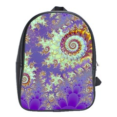 Sea Shell Spiral, Abstract Violet Cyan Stars School Bag (Large)