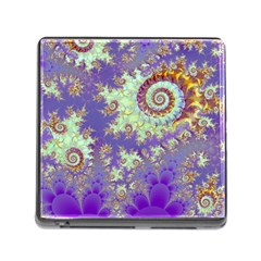 Sea Shell Spiral, Abstract Violet Cyan Stars Memory Card Reader with Storage (Square)
