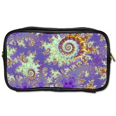 Sea Shell Spiral, Abstract Violet Cyan Stars Travel Toiletry Bag (One Side)