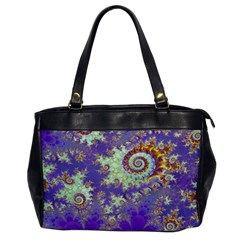 Sea Shell Spiral, Abstract Violet Cyan Stars Oversize Office Handbag (One Side)