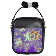 Sea Shell Spiral, Abstract Violet Cyan Stars Girl s Sling Bag