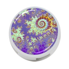 Sea Shell Spiral, Abstract Violet Cyan Stars 4-Port USB Hub (One Side)