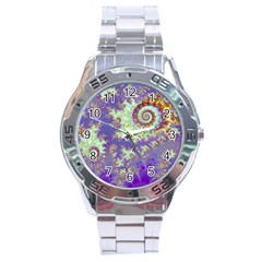 Sea Shell Spiral, Abstract Violet Cyan Stars Stainless Steel Watch