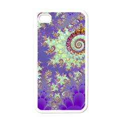 Sea Shell Spiral, Abstract Violet Cyan Stars Apple Iphone 4 Case (white)