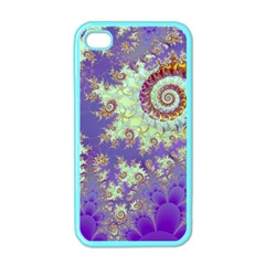 Sea Shell Spiral, Abstract Violet Cyan Stars Apple Iphone 4 Case (color)