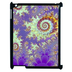 Sea Shell Spiral, Abstract Violet Cyan Stars Apple iPad 2 Case (Black)