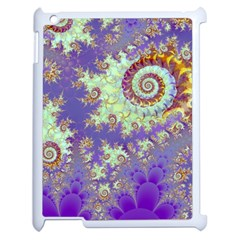 Sea Shell Spiral, Abstract Violet Cyan Stars Apple iPad 2 Case (White)