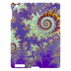 Sea Shell Spiral, Abstract Violet Cyan Stars Apple iPad 3/4 Hardshell Case