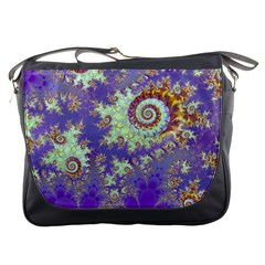 Sea Shell Spiral, Abstract Violet Cyan Stars Messenger Bag