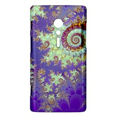 Sea Shell Spiral, Abstract Violet Cyan Stars Sony Xperia ion Hardshell Case