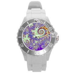 Sea Shell Spiral, Abstract Violet Cyan Stars Plastic Sport Watch (Large)