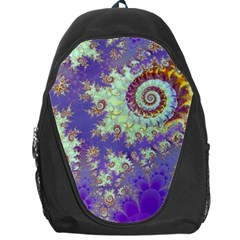 Sea Shell Spiral, Abstract Violet Cyan Stars Backpack Bag