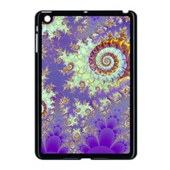 Sea Shell Spiral, Abstract Violet Cyan Stars Apple iPad Mini Case (Black)