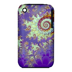 Sea Shell Spiral, Abstract Violet Cyan Stars Apple Iphone 3g/3gs Hardshell Case (pc+silicone)
