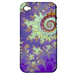 Sea Shell Spiral, Abstract Violet Cyan Stars Apple Iphone 4/4s Hardshell Case (pc+silicone)