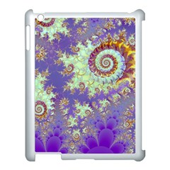 Sea Shell Spiral, Abstract Violet Cyan Stars Apple Ipad 3/4 Case (white)