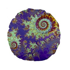Sea Shell Spiral, Abstract Violet Cyan Stars 15  Premium Round Cushion