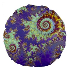 Sea Shell Spiral, Abstract Violet Cyan Stars 18  Premium Round Cushion