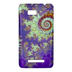 Sea Shell Spiral, Abstract Violet Cyan Stars HTC One SU T528W Hardshell Case