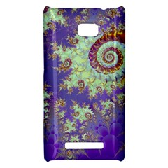 Sea Shell Spiral, Abstract Violet Cyan Stars HTC 8X Hardshell Case