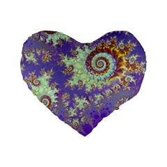 Sea Shell Spiral, Abstract Violet Cyan Stars 16  Premium Heart Shape Cushion