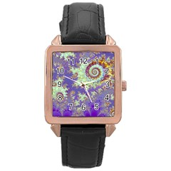 Sea Shell Spiral, Abstract Violet Cyan Stars Rose Gold Leather Watch