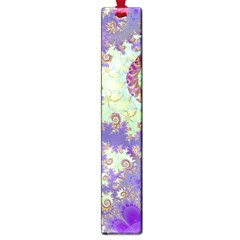 Sea Shell Spiral, Abstract Violet Cyan Stars Large Bookmark