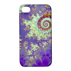 Sea Shell Spiral, Abstract Violet Cyan Stars Apple iPhone 4/4S Hardshell Case with Stand