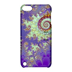 Sea Shell Spiral, Abstract Violet Cyan Stars Apple Ipod Touch 5 Hardshell Case With Stand
