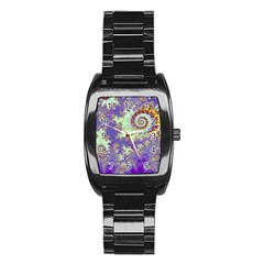 Sea Shell Spiral, Abstract Violet Cyan Stars Stainless Steel Barrel Watch