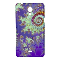 Sea Shell Spiral, Abstract Violet Cyan Stars Sony Xperia T Hardshell Case
