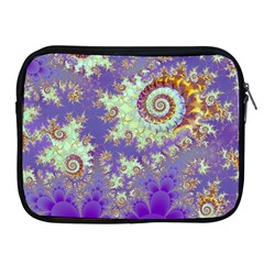 Sea Shell Spiral, Abstract Violet Cyan Stars Apple iPad Zippered Sleeve