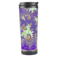 Sea Shell Spiral, Abstract Violet Cyan Stars Travel Tumbler