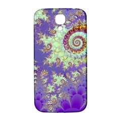 Sea Shell Spiral, Abstract Violet Cyan Stars Samsung Galaxy S4 I9500/I9505  Hardshell Back Case