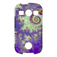 Sea Shell Spiral, Abstract Violet Cyan Stars Samsung Galaxy S7710 Xcover 2 Hardshell Case