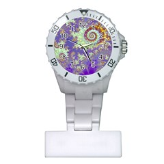 Sea Shell Spiral, Abstract Violet Cyan Stars Nurses Watch