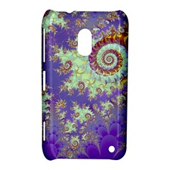 Sea Shell Spiral, Abstract Violet Cyan Stars Nokia Lumia 620 Hardshell Case