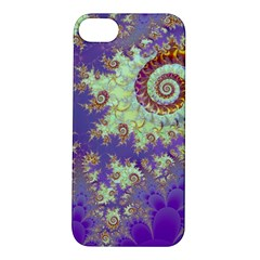 Sea Shell Spiral, Abstract Violet Cyan Stars Apple iPhone 5S Hardshell Case