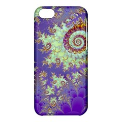 Sea Shell Spiral, Abstract Violet Cyan Stars Apple Iphone 5c Hardshell Case