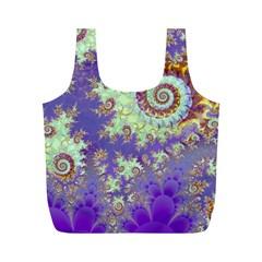 Sea Shell Spiral, Abstract Violet Cyan Stars Reusable Bag (M)