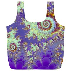 Sea Shell Spiral, Abstract Violet Cyan Stars Reusable Bag (xl)